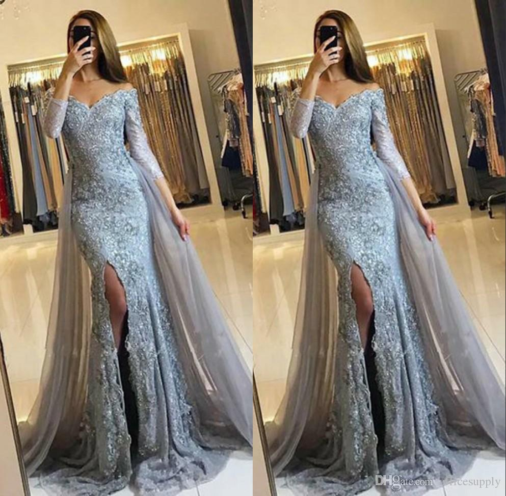 d6bbfa323c38 2018 African Mermaid Prom Dresses With Detachable Train Long Sleeves V Neck  Appliques Sparkly Formal Evening Gowns Formal Dresses Custom Online Prom  Dress ...