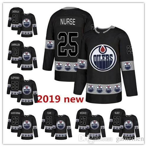 Edmonton Oilers Blank Girls Black Pink Kids Fashion Jersey