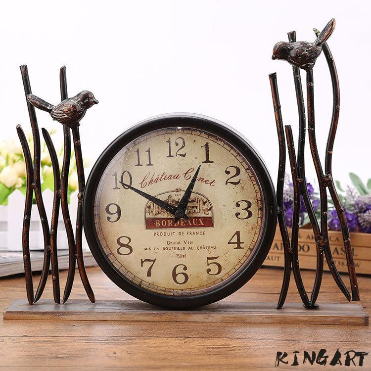 2019 Retro Table Clock Iron Craft Antique Metal Desk Clock Watch Bronze Gold  Table Handicraft Vintage For Home Decoration From Bowstring, $38.42    DHgate.