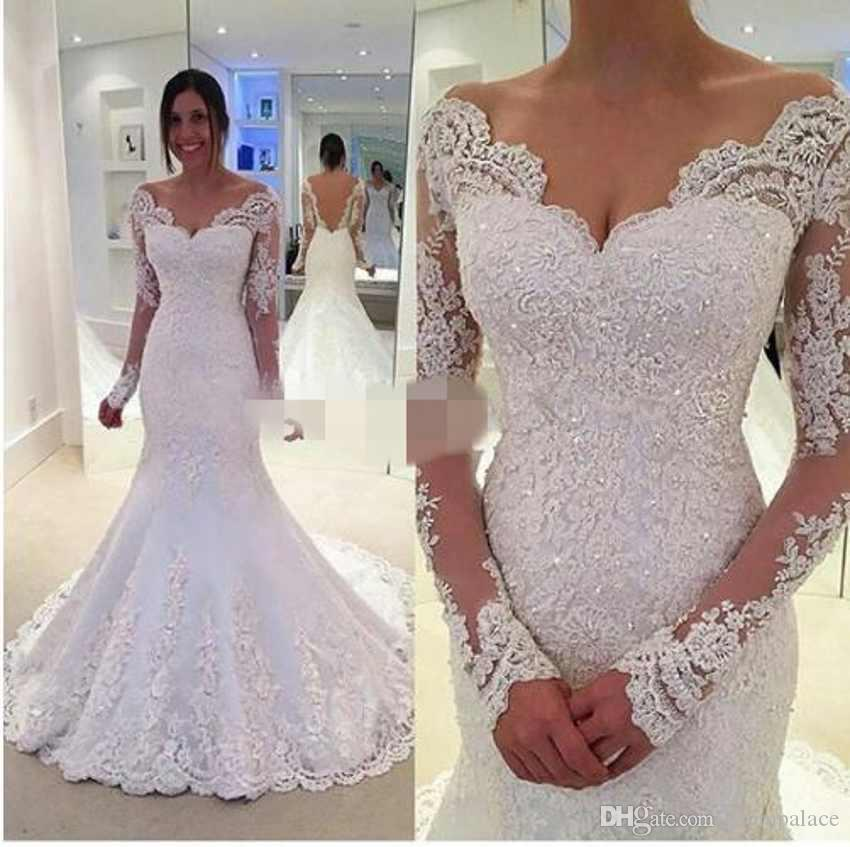 324a7831e24 New Arrival White Sheath Wedding Dresses Long Sleeves Sweep Train Beaded  With Sexy Open Back Mermaid Charming Wedding Gowns Pink Wedding Dress  Princess ...