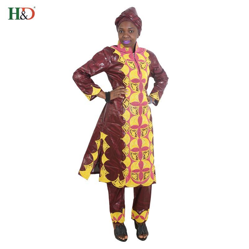 44500001a34f5 Acheter HD 2017 Robes Africaines Pour Femmes Vêtements 100% Coton Écharpes  De Broderie Bazin Guépards Tops Pants Costumes Robe Dashiki Pour Dame De  $81.41 ...