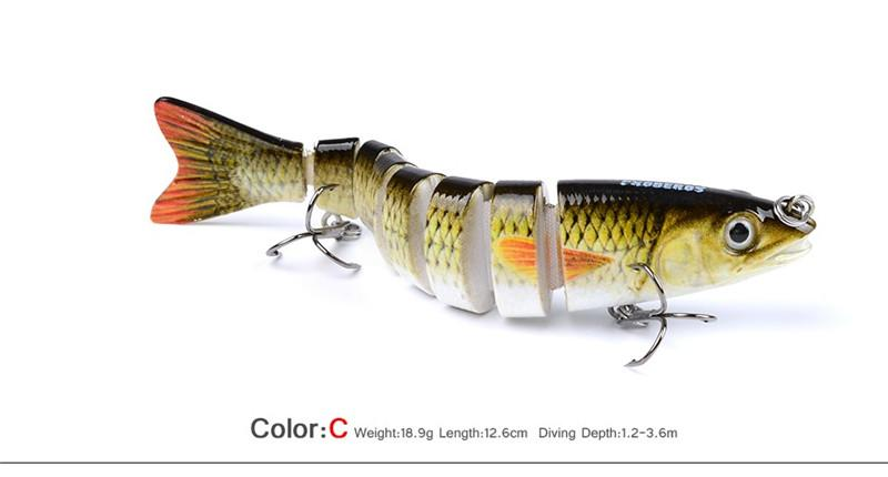 Морская рыбалка Swimbaits мерцание бас приманки 12 см 19 г 10 цветов 3D глаза 8 сегментов Rattlin воблеры приманки