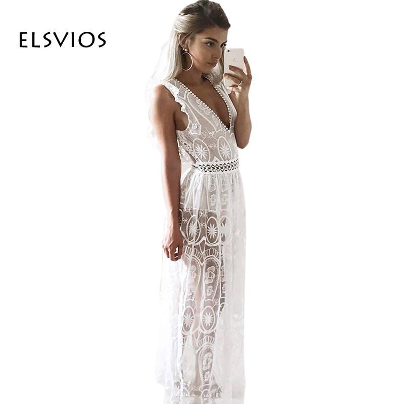 9790b32565 ELSVIOS Sexy Backless Lace Summer Dress Boho Style Deep V Neck See Through Long  Dresses Women Solid Beach Maxi Dress Vestidos Y1891107 Lace Sun Dresses  Cute ...