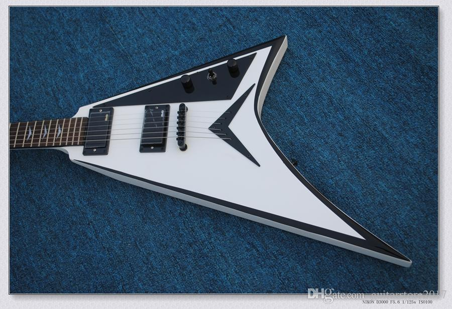 Flying V Electric Guitar with White Body and Black Pickguard and Gold Hardware and Can be Changed