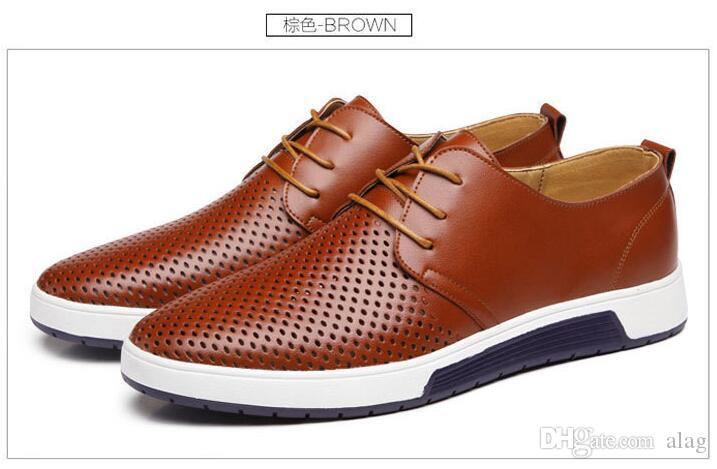 New 2019 Men's Casual Shoes Summer Breathable Leather Holes Flat Shoes for Men Flats Wedding Party Shoes AXX872