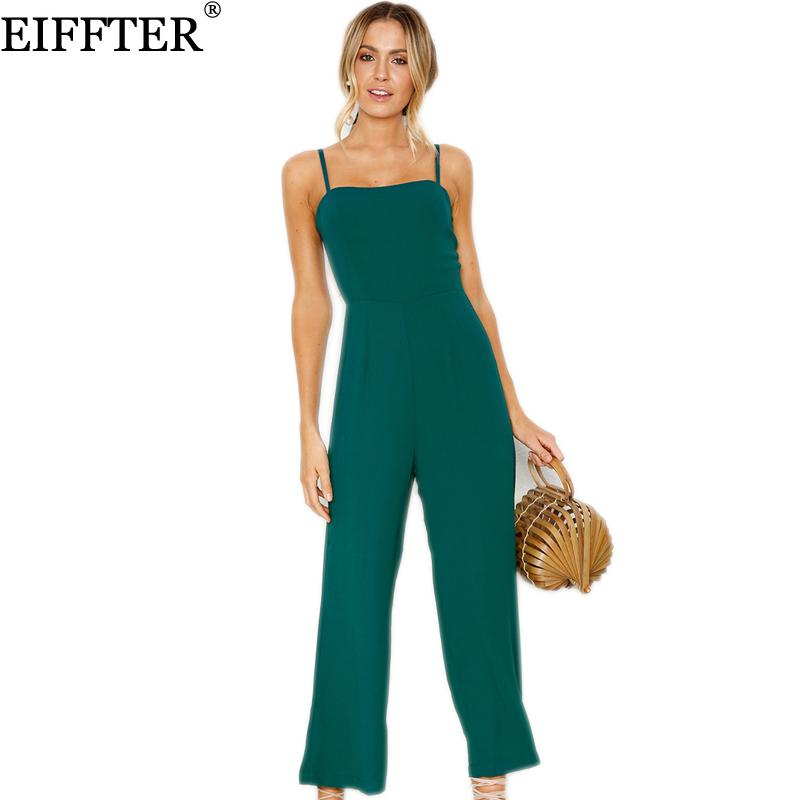 d473840bd3c5 2019 EIFFTER Women Strapless Jumpsuits 2018 Summer New Casual Spaghetti  Strap Off Shoulder Solid Rompers Female Slim Overalls 0720 From  Blueberry15