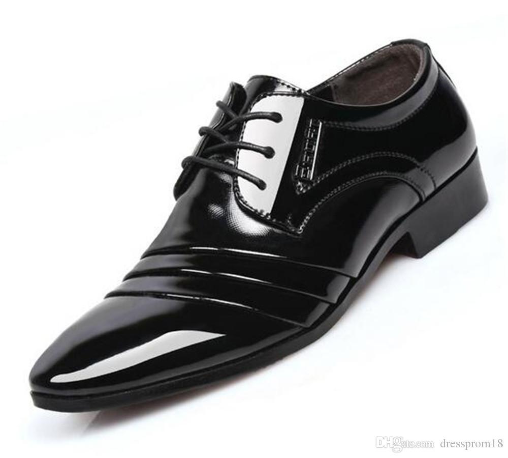 92d38edd8b Compre Para Hombre Moderno Con Cordones Derby Vestido Zapatos De Cuero De  La Boda De Negocios Formal Calzado Regalo Para Él 2018 A $30.16 Del  Dressprom18 ...