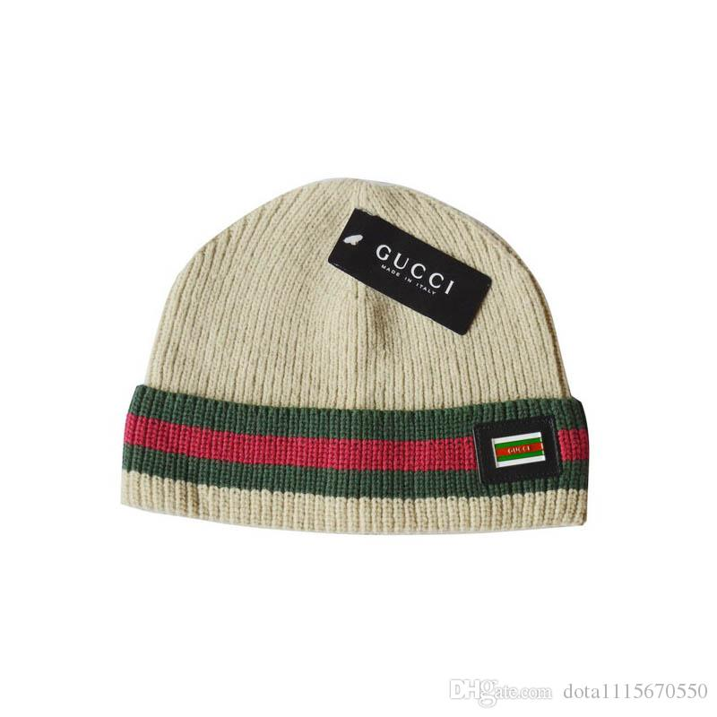 High Quality Fashion Designer Brand Pure Cotton Knitted Hip Hop Beanies Embroidered  Men Women Winter Hats Casual Head Warmer Outdoor Caps Beanies For Girls ... d70c66a49e94