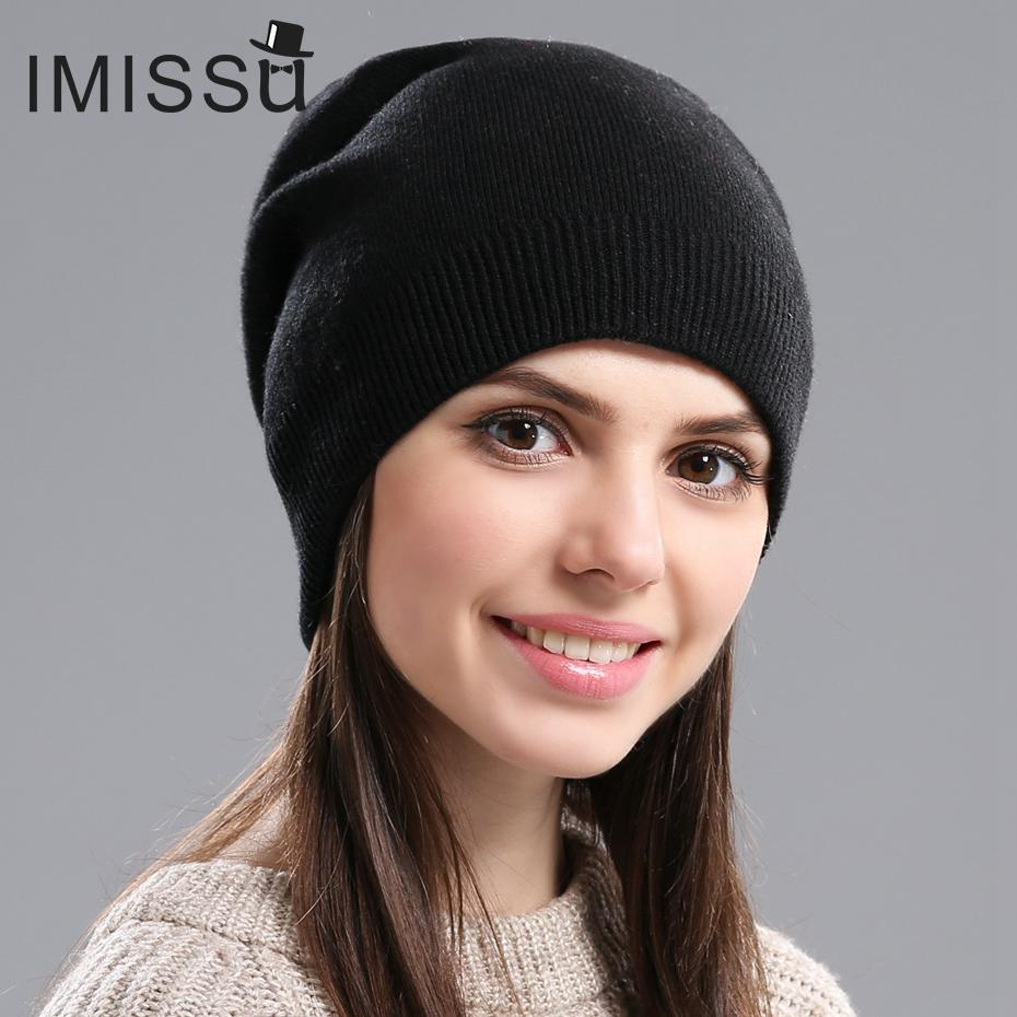 ccef2190f58 IMISSU Autumn Winter Hats Unisex Knitted Real Wool Skullies Casual Beanie  Solid Colors Ski Gorros Fashion Cap Warm Muts Hat Black Baseball Cap  Knitted Hats ...