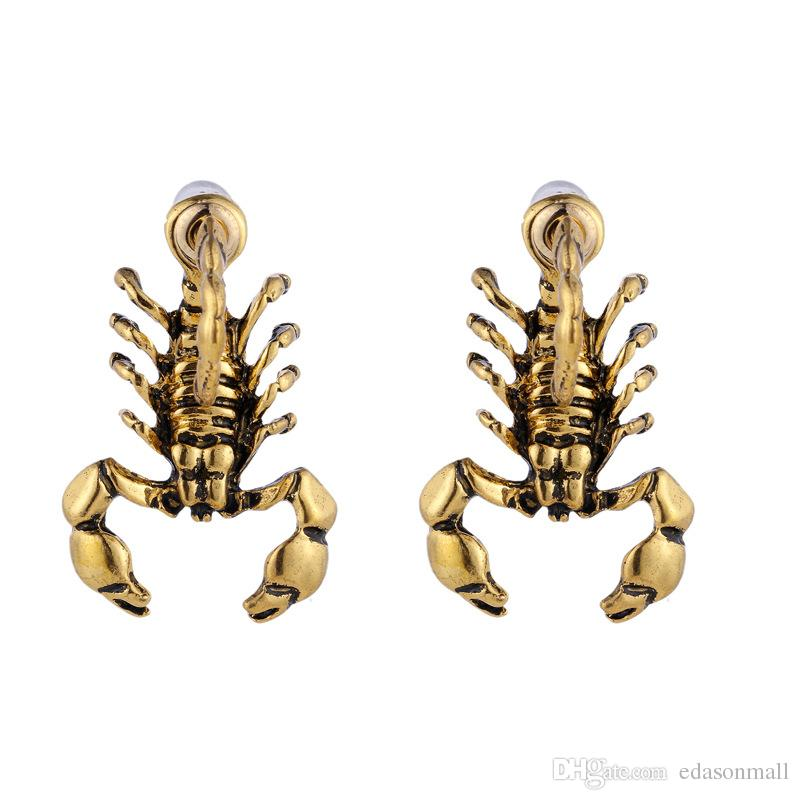 Punk Scorpion Stud Earrings Simple Style Sliver Color Earrings Studs Smooth Geometric Jewelry For Women Unisex Friend Gift D482S