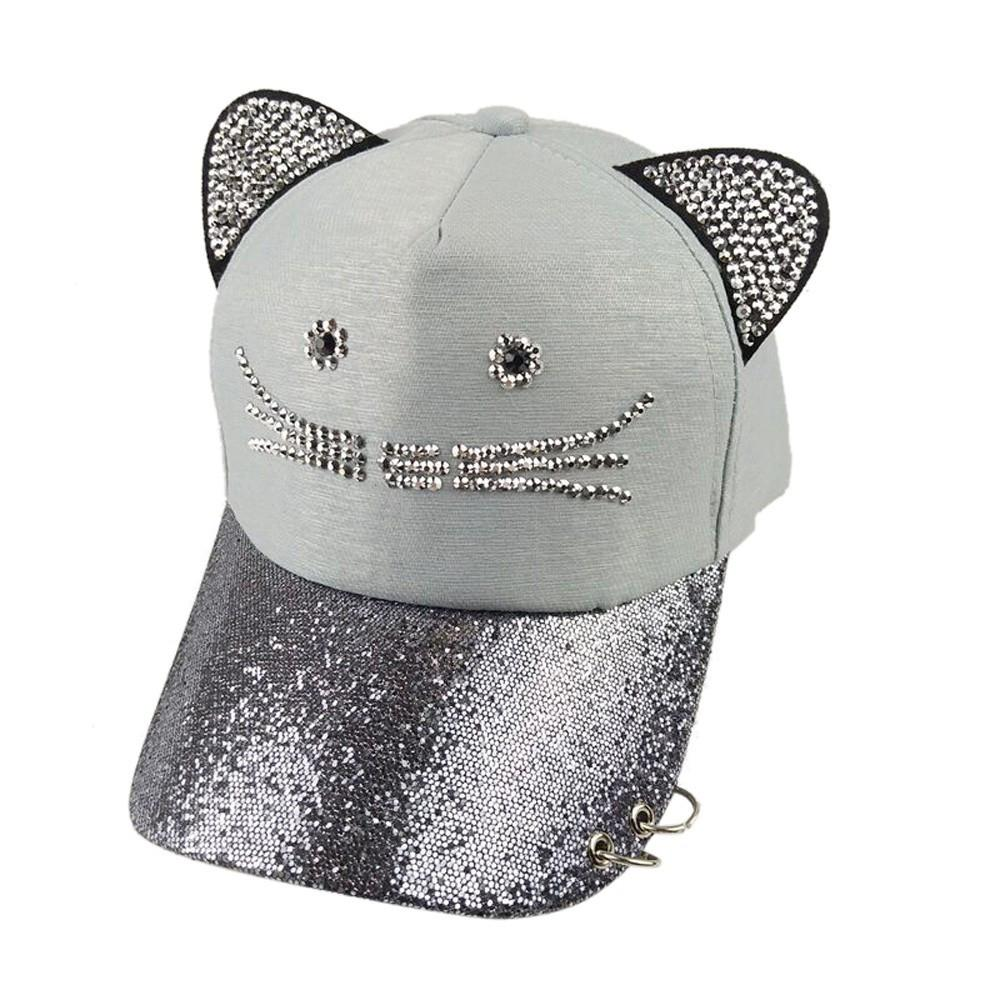 Feitong 2018 Woman Cap Hat Women Cartoon Adjustable Cat Ears Cap Lovely  Mesh Baseball Sun Hats Cap Hat Flat Caps For Men From Jianyue16 1bea3f906f89