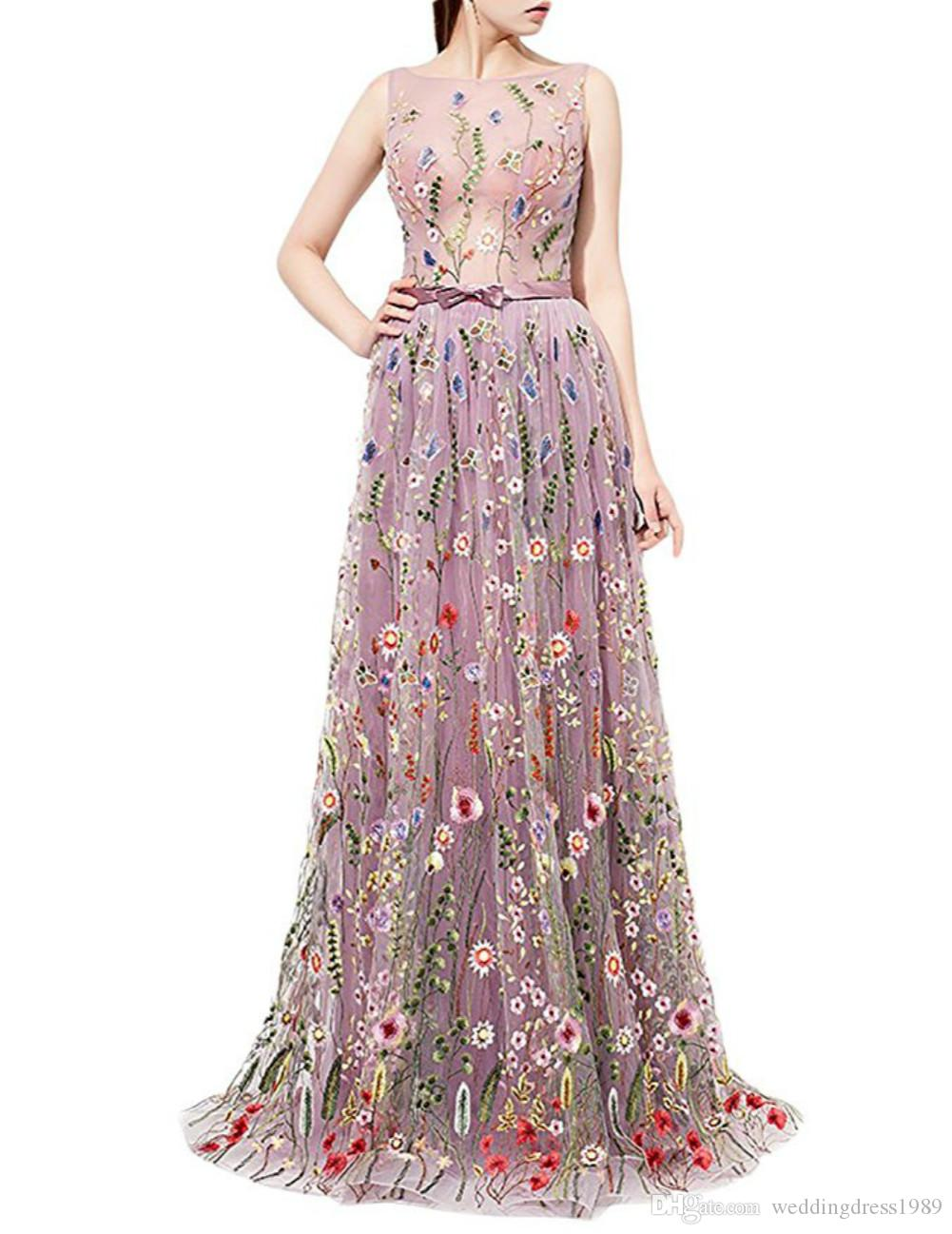 Trendy Floral Embroidery Sheer Evening Dresses 2018 Illusion Flower Plus  Size Sexy Lady Dress Long Party Dress Prom Gowns Celebrity Pageant Evening  Dress ... 85c32cf28