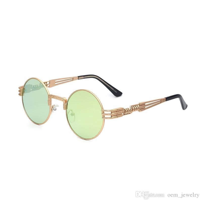 Vidano óptico de las gafas de sol de Steampunk vidrio de Sun Hombres Mujeres redondas gafas de moda de metal marca con Retro Vintage Sunglasses UV400 Eyewear