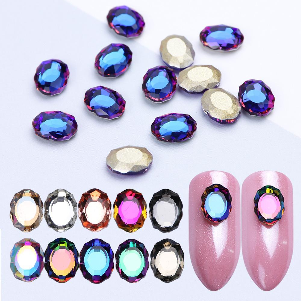c2c5c44a0d1 Acheter 3D Strass Holographique Nail Art AB Ovale Coloré Cristal Nail  Bijoux Décoration Flamme Charmes Manucure Accessoire LAR10 De  35.47 Du  Pokkie ...