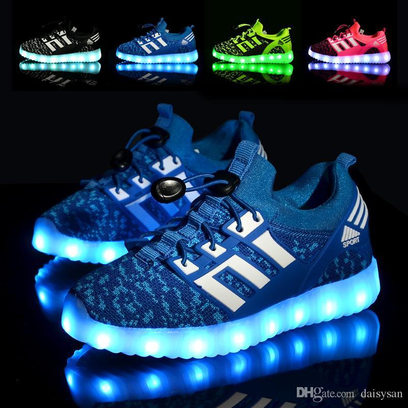 7cbafdb9a4e4e Acheter Glowing Enfants Chaussures De Sport Avec USB Rechargeable Enfants  Led Allume Des Chaussures Lumineuses Baskets Pour Garçons Filles Sneaker  Rose Noir ...