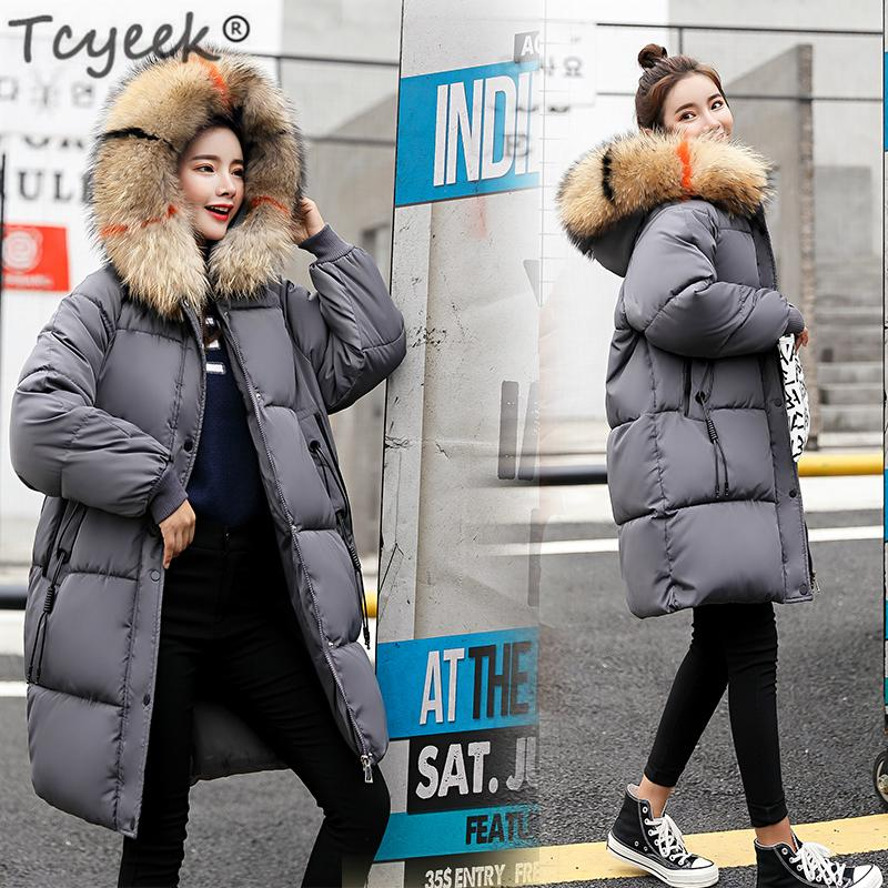 fffb96a8d Tcyeek Winter Jacket Women Thick Down Cotton Padded Parkas Color Fur Hooded  Warm Coat 2018 Plus Size Female Tops Clothing LWL986 Y18102502