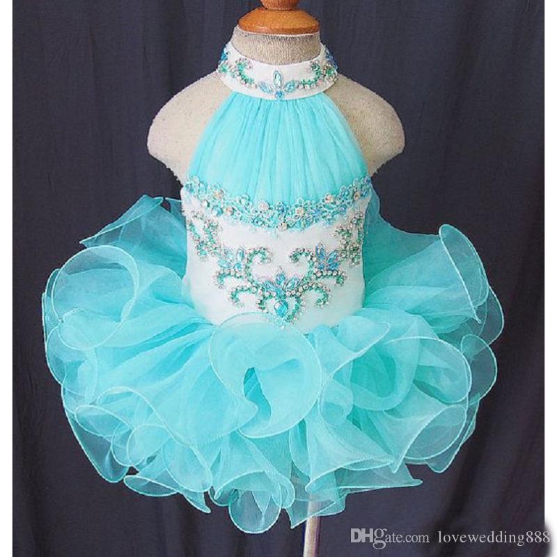 저렴한 라이트 스카이 블루 아기 유아 미인 대회 드레스 비즈 Organza 푹신한 공 가운 프릴 작은 아이 파티 Bithday 가운