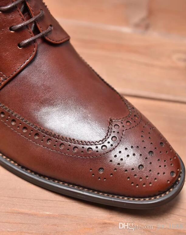 Designer italien luxe hommes bottes en cuir véritable fait à la main brun noir affaires robe mâle bottines pour hommes chaussures