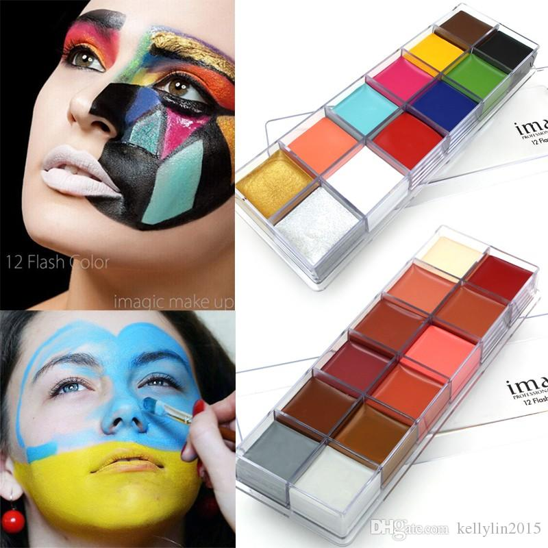 IMAGIC Face Body Paint Oil Painting 12 Colors Flash Tattoo Art for Halloween Party Cosplay Tattoos Pigment Beauty Makeup Tools