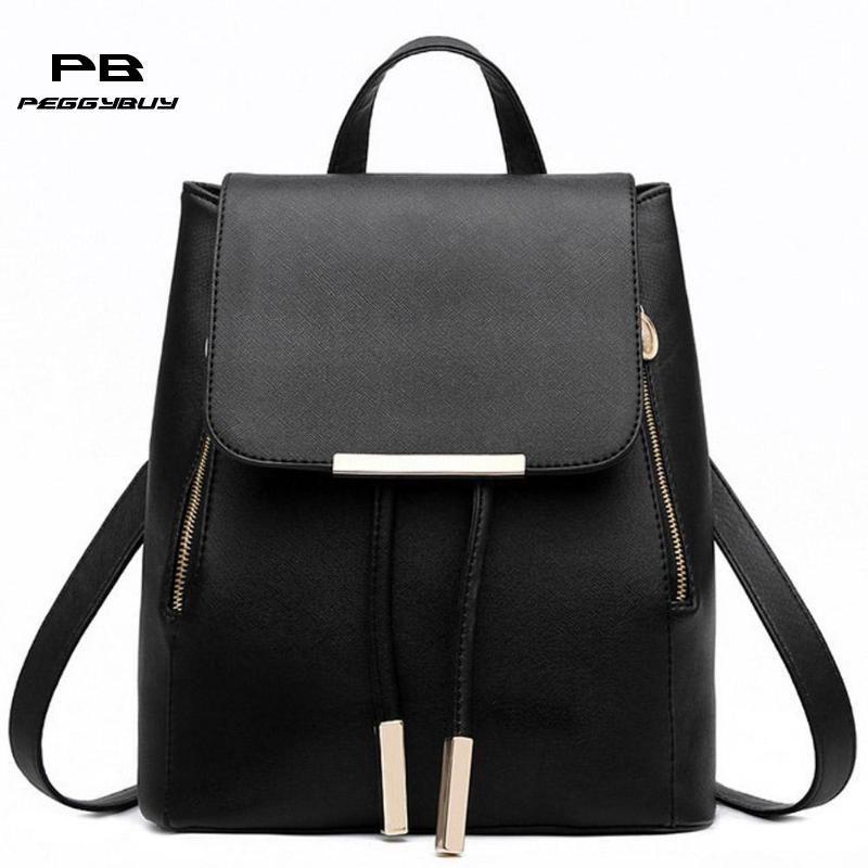 ecedeecad1 Women Girls PU Leather Solid Backpack School Bag Student Travel Rucksack  Knapsack Teen Female Casual Portable Satchel Pouch Tote Rucksack Backpack  Boys ...