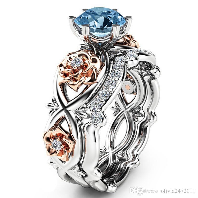 シルバーメッキ2ピースセットクリスタル結婚指輪愛好家ギフトラインストーンリング女性ローズフラワーリングSJ