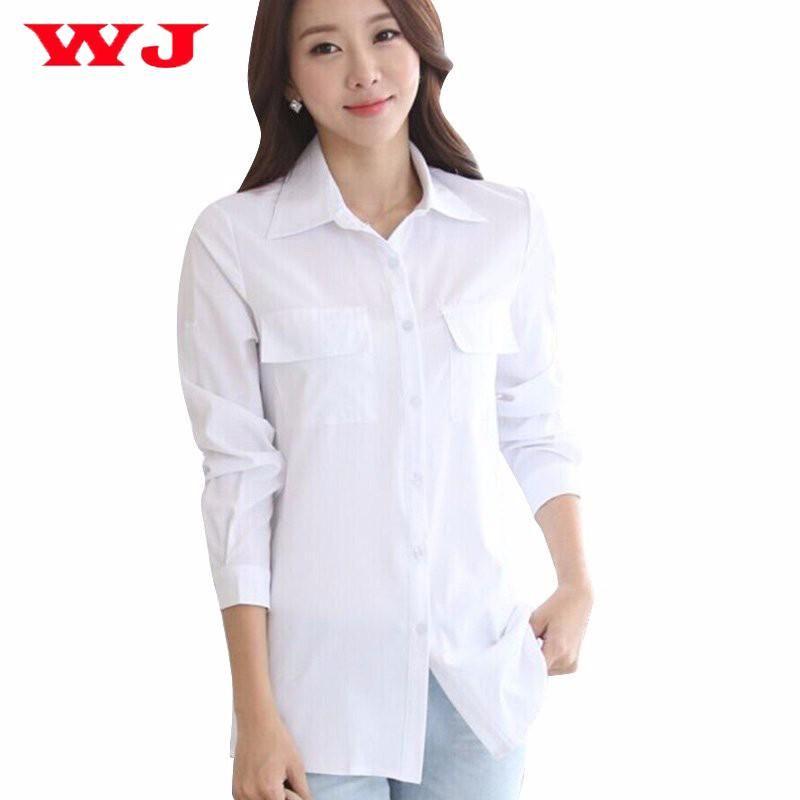 27623c93cff021 2019 2018 Women Long White Blouse Korean Style Female Solid Elegant Blusas  Ladies Office Long Sleeve Blouses Shirt From Jerry07, $4.28 | DHgate.Com