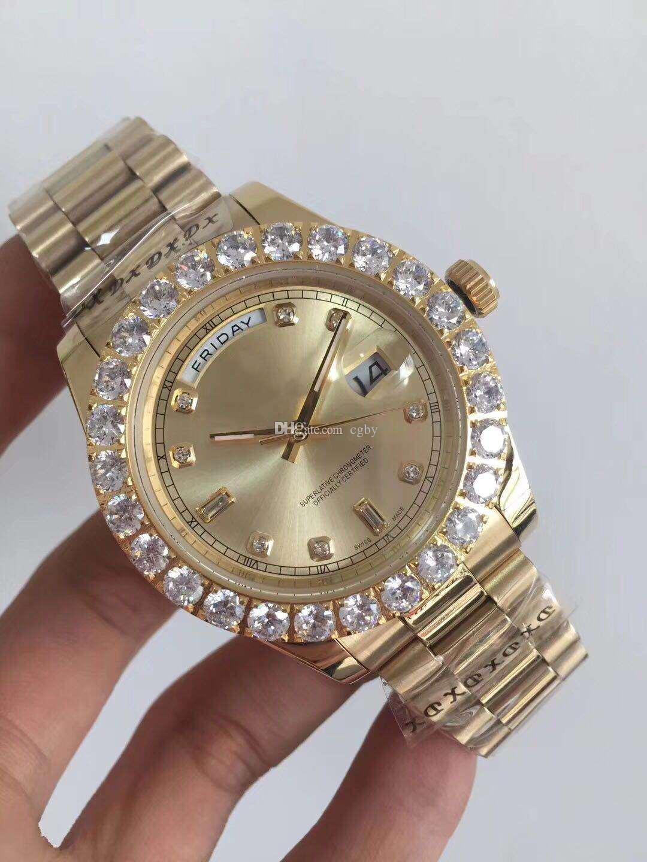 Envío gratis relojes hombres marca de lujo Day Date cara roja reloj de diamantes hombres automático AAA zafiro 18 K original corchete Mechanical