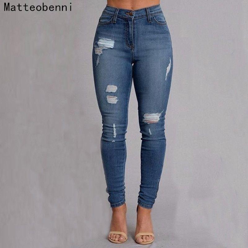 8b0c52abc Compre Boyfriend Hole Pantalones Vaqueros Rotos Pantalones De Mujer Denim  Vintage Flacos Con Push Up Jeans De Cintura Alta Casual Damas Delgado Mamá  A ...