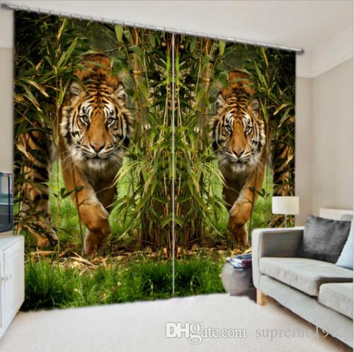 Tiger in Bamboo 2 Panels Set 3D Blockout Photo Printing Tende per tende da finestra