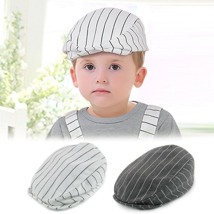 370569c4e 2018 New Style Baby Boys Kids Infant Toddler CasqueBeret Cap Flat Peaked  Cotton Stripe Hat