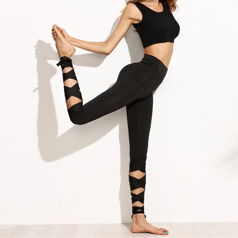 4cb69b554d6b6 2019 Trousers For Ladies New Arrival Womens Plain Black High Waist Wide  Waistband Tie Up Skinny Hip Push Up Leggings From Quintin, $21.52    DHgate.Com