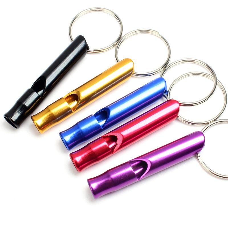 I colori della miscela mini lega di alluminio Whistle portachiavi portachiavi esterna di sopravvivenza di emergenza di sicurezza portachiavi Sport di campeggio di caccia