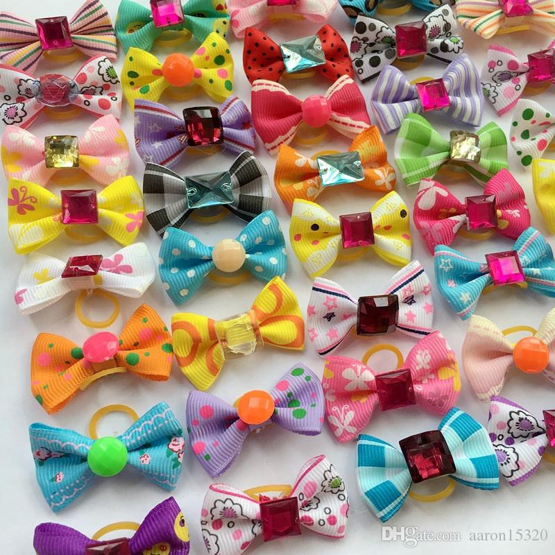 Dog Hair Bows with Rubber Bands Rhinestone Pearls Bowknot Dog Topknot Bows Cute Dog Cute Pet Grooming Products