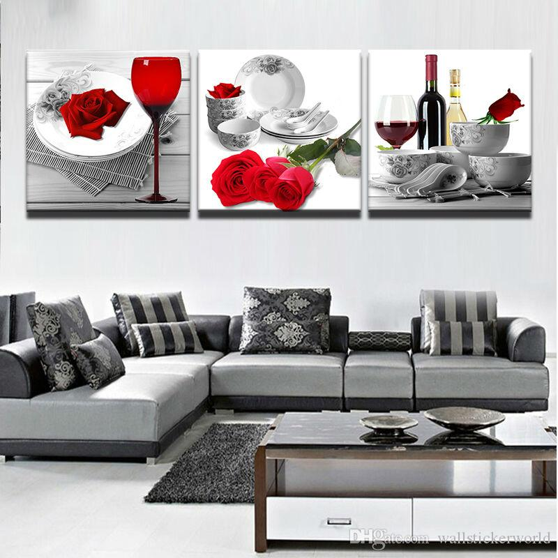 Prints Poster Wall Modular Picture Home Decor 3 Panel Red Roses Wine Glass Flowers Canvas Art Living Room Paintings Artwork