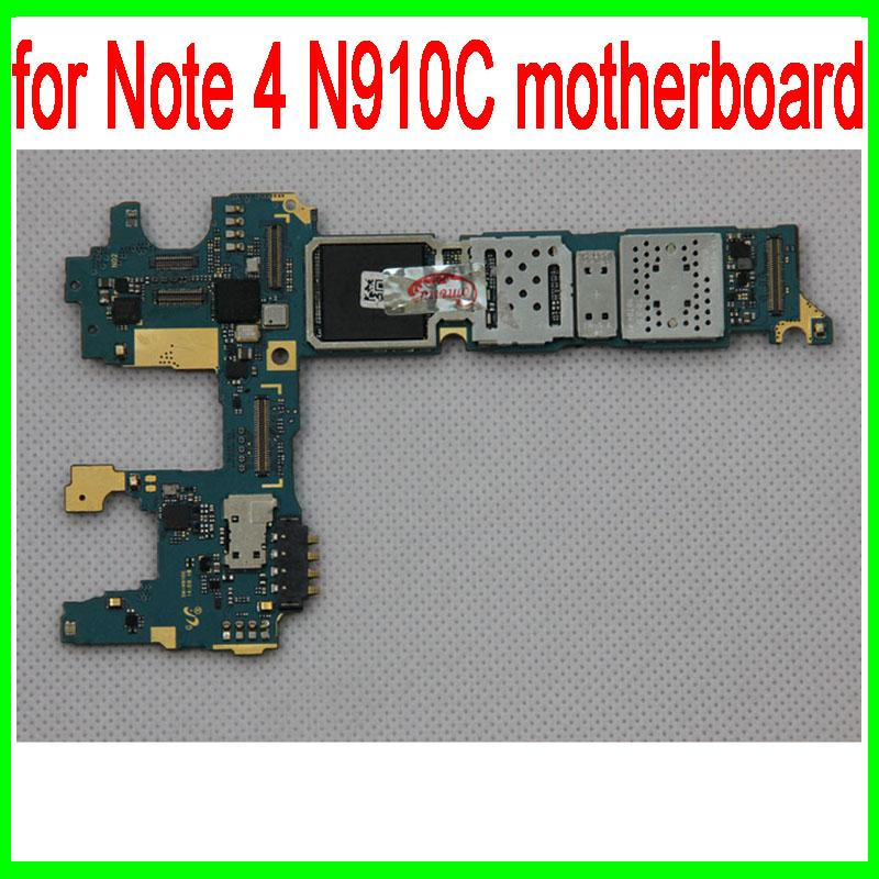 100% Original unlocked for Galaxy Note 4 N910C Motherboard with Chips,for  Galaxy Note 4 N910C Mainboard,Free Shipping