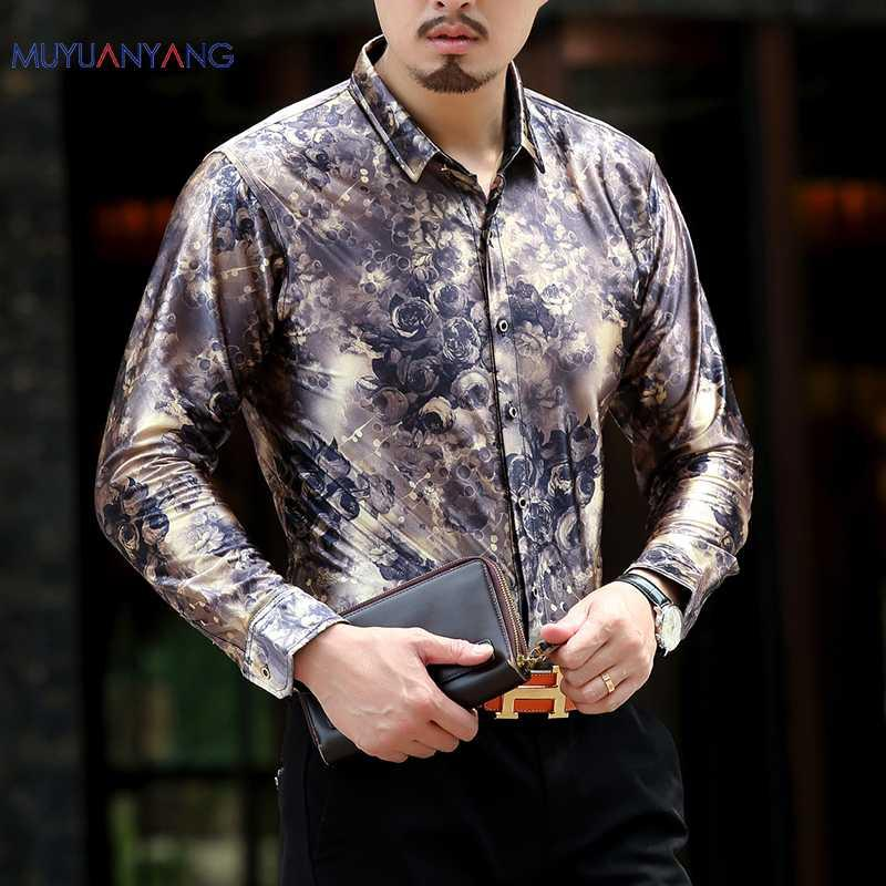 ae1d9397f6f 2019 Mu Yuan Yang 2018 New Fashion High Quality Floral Print Slim Fit  Shirts Men S Long Sleeve Casual Dress Shirts Size M 3XL 50% Off From  Piaocloth