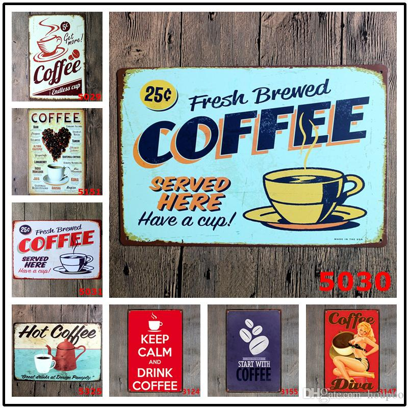 "30 Designs 11.81""x7.87"" Coffee Metal Signs Tin Painting Home Decor Posters Crafts Supplies Wall Art Pictures Decoración Del Hogar"
