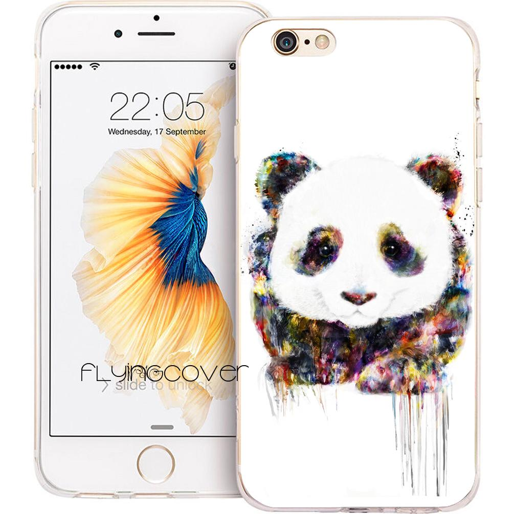finest selection 35de6 98fcf Coque Watercolor Panda Clear Soft TPU Silicone Phone Cover for iPhone X 7 8  Plus 5S 5 SE 6 6S Plus 5C 4S 4 iPod Touch 6 5 Cases.