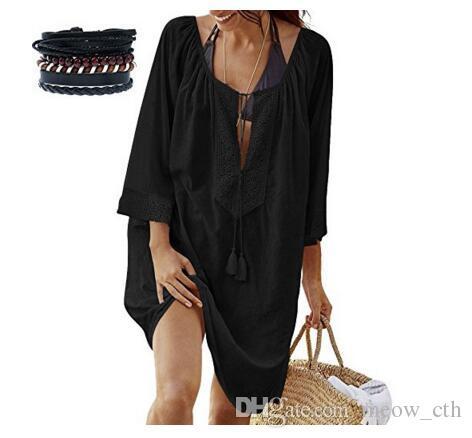 2018 donne spiaggia pizzo estate spiaggia abito balneazione camicia signore sexy delle donne abiti in pizzo spiaggia manica lunga abbigliamento