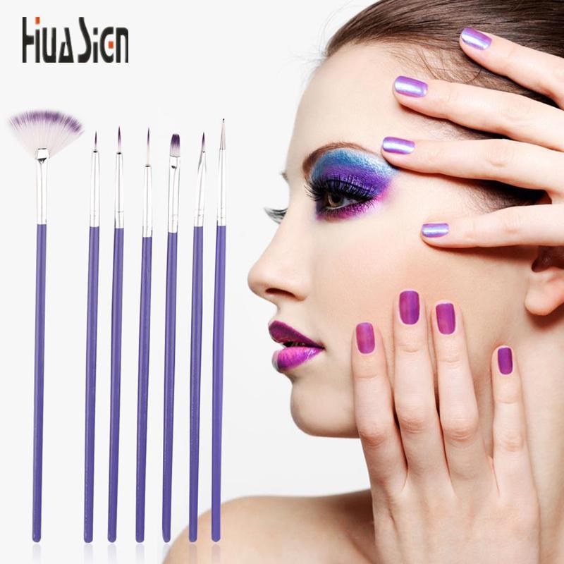 Purple Nail Art Design Brush Manicure For Painting Dotting Tool
