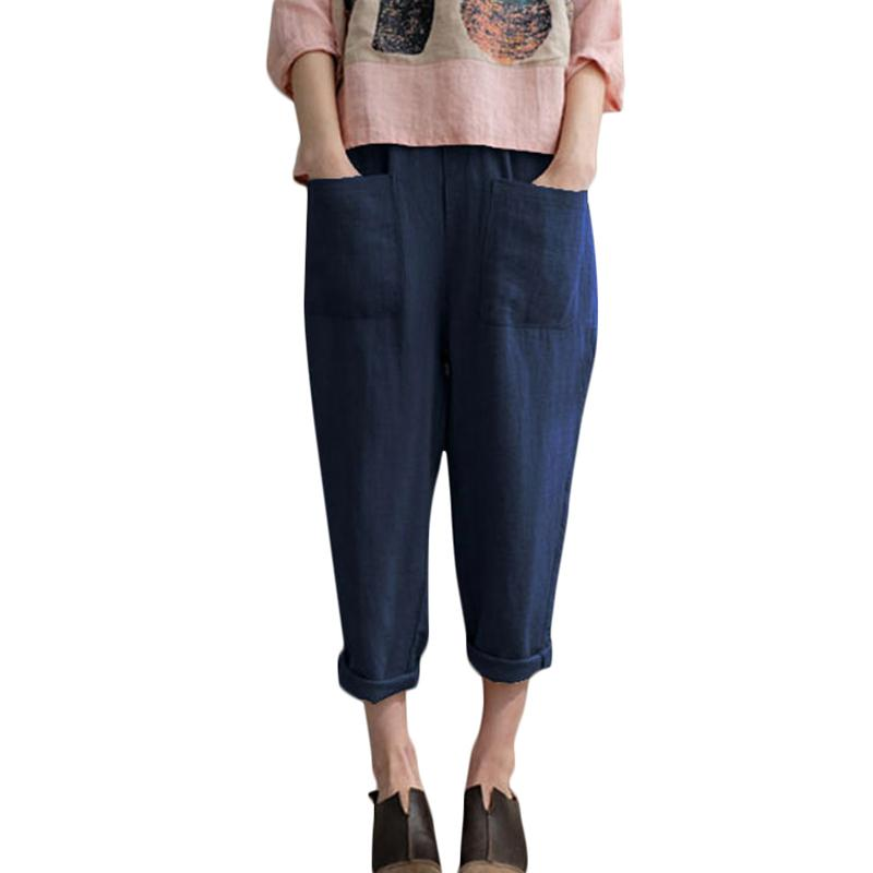 678d0cf92b3 2019 2019 Woman Loose Cotton Linen Trousers Elastic Waist Pockets Solid  Color Casual Pants Female Summer Plus Size Womens Clothing From Your07