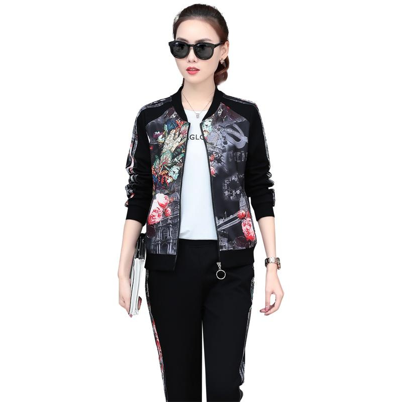 3802f6b6a0508 2019 Baseball Clothes Women Graphic Jacket With Pockets Black Pants For Women  Plus Size And Short Sleeve White T Shirt Sport Suits Women 6313 From  Silverdog ...