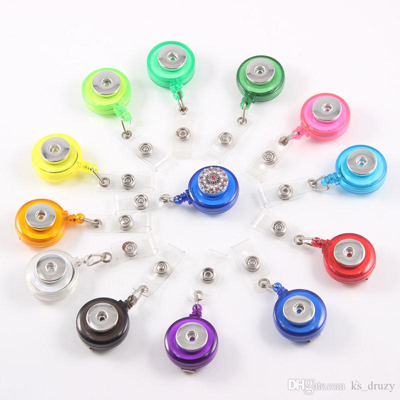 3 Styles Retractable Ski Pass ID Card Badge Holder Reel Pull Key Name Tag Recoil Reel Fit 18MM Snap Button Jewelry School Hospital Suppliers