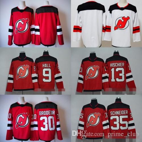 2017-2018 AD New Jersey Devils 9 Taylor Hall 13 Nico Hischier 30 Martin  Brodeur 35 Cory Schneider Blank Ice Hockey Red Online with  25.68 Piece on  ... 07c05efb6