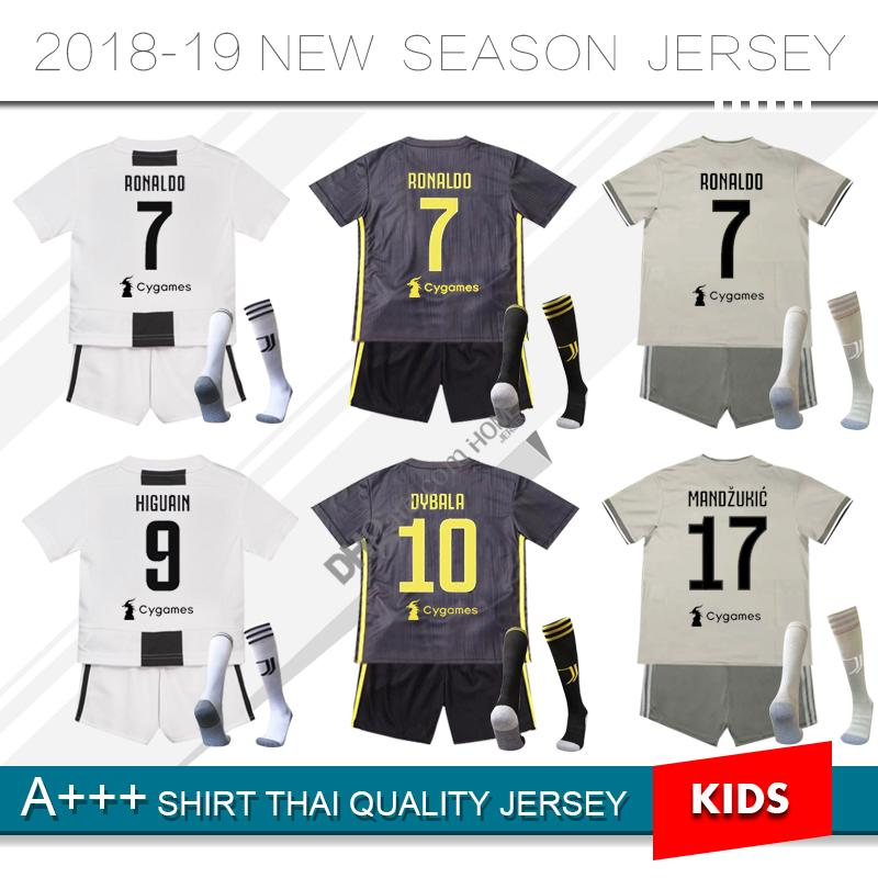 2019 2018  7 RONALDO JUVENTUS Kids Soccer Jersey Kit 18 19 Home Away Third  Full Kits DYBALA HIGUAIN Child Boys Football Shirts With Socks From  Homejersey acedede7a