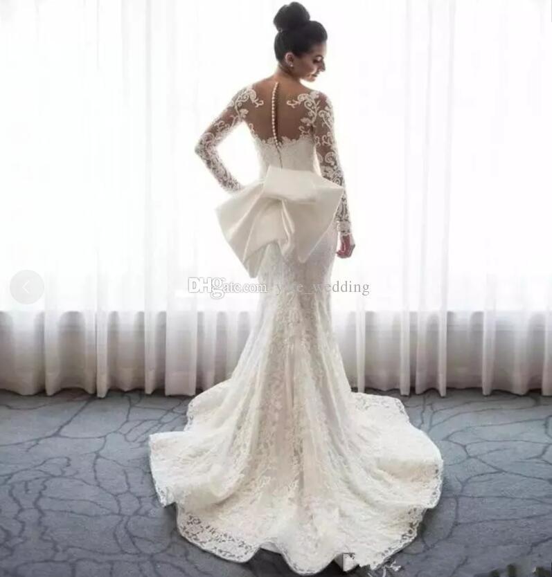 Abiti da sposa a sirena in pizzo Collo a maniche lunghe Appliques Abiti da sposa arabi sauditi con abiti da sposa attillati