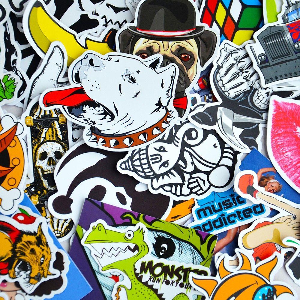 Das Beste 100 Pcs Cartoon Graffiti Stil Aufkleber Für Auto Fahrrad Motorrad Telefon Laptop Reise Gepäck Coole Lustige Aufkleber Bombe Jdm Decals Aufkleber