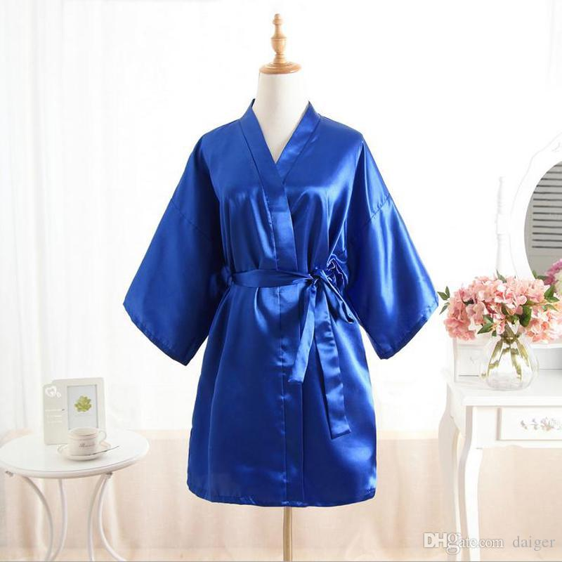 2018 Wholesale New Arrival Blue Women\'S Satin Robe Bridesmaid ...