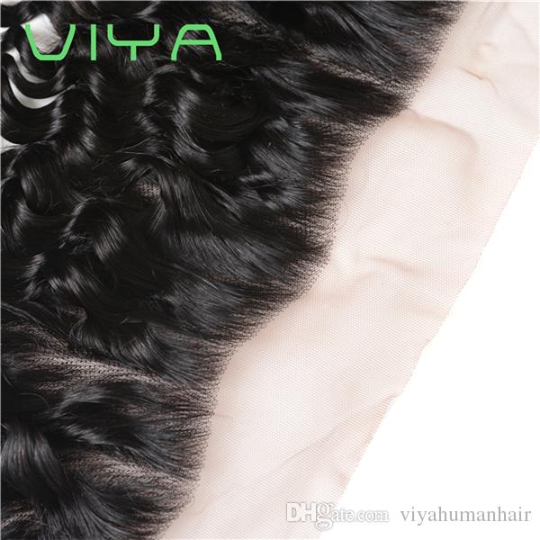 VIYA Brazilian Virgin Hair 3 Bundles with Frontal 8A French CUurl With Frontal Unprocessed Remy Human Hair Weave Bundle Deals
