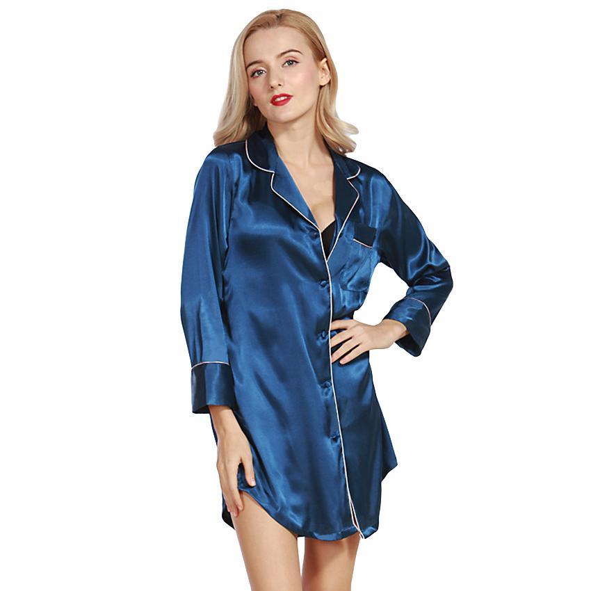 fedfa58f9abc42 Sexy Women Silk Satin Shirt Dress Pajamas Turn Down Collar Long Sleeve  Sleepwear Nightwear Pyjamas Autumn Winter Pijama Mujer Party Dresses Ladies  Dress For ...